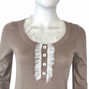 Twelve by Twelve Taupe Lace Embellished Sweater